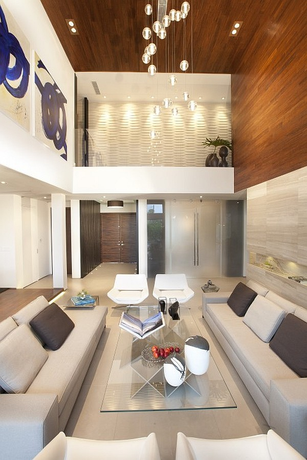 modern miami home with high ceiling living room