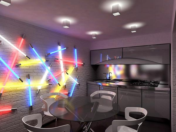 modern neon kitchen
