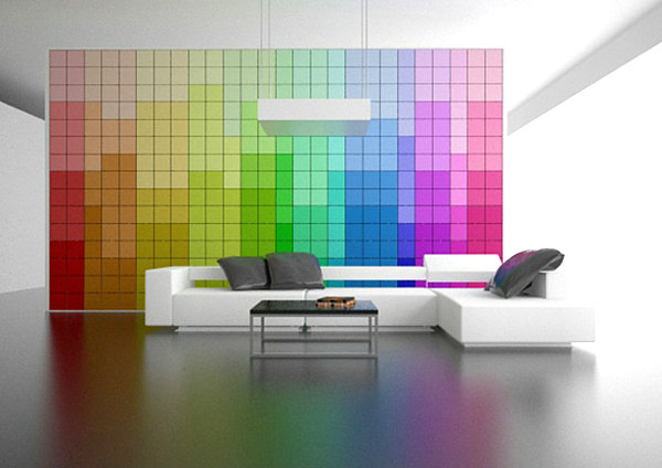 modern pixel wall Rainbow Designs: 20 Colorful Home Decor Ideas