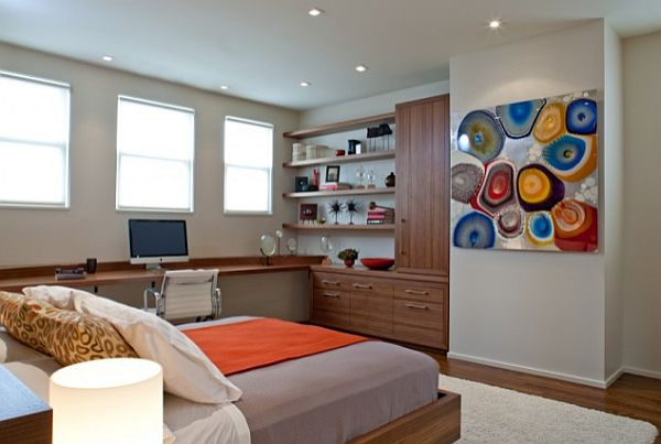 modern san francisco bedroom with desk and colorful decor
