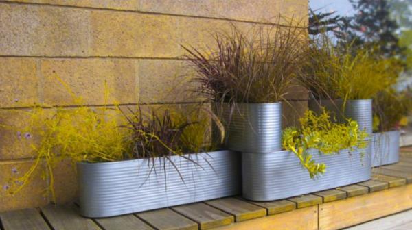 modern steel planters