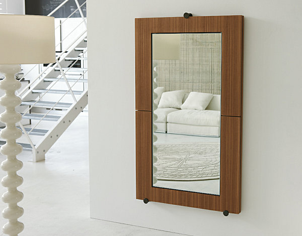 modern woodgrain rectangular wall mirror 20 Fabulous Wall Mirrors