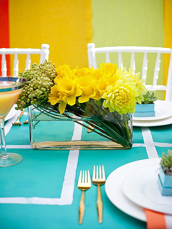 View In Gallery Modern Yellow Floral Arrangement For A Classic Dining Table