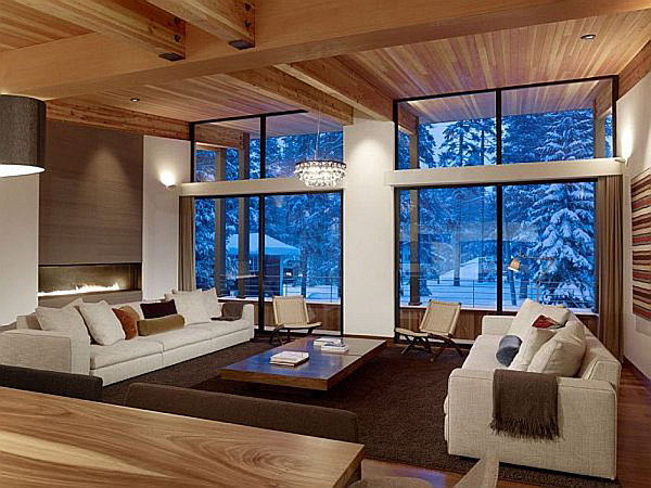 mountain villa with elegant living room