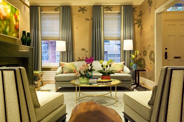 new york living room with flowing drapery