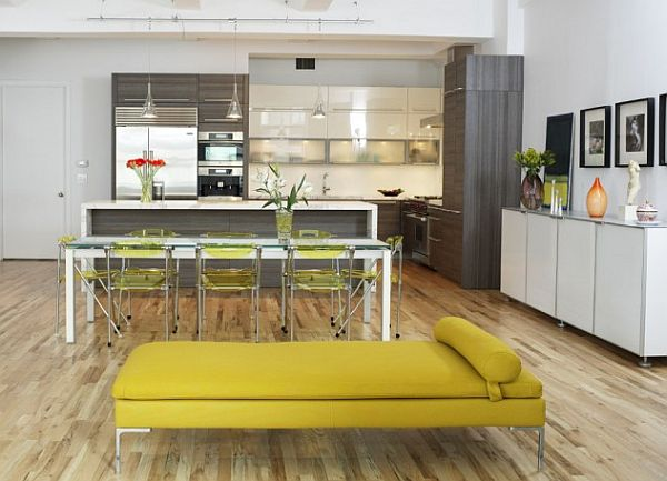 new york loft - large kitchen with modern cabinets