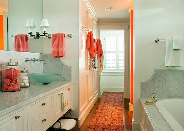 orange accents bathroom tangerine towels and walls decoist