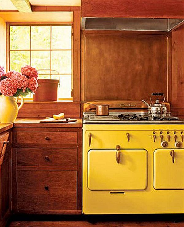 yellow retro kitchens - photo #4