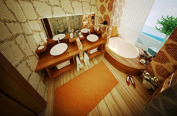 Modern bathroom design with orange theme