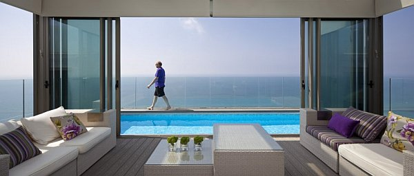 penthouse villa with stunning pool and sea views Netanya Penthouse in Israel Has Amazing Panoramic Mediterranean Sea Views & Luxury Decor