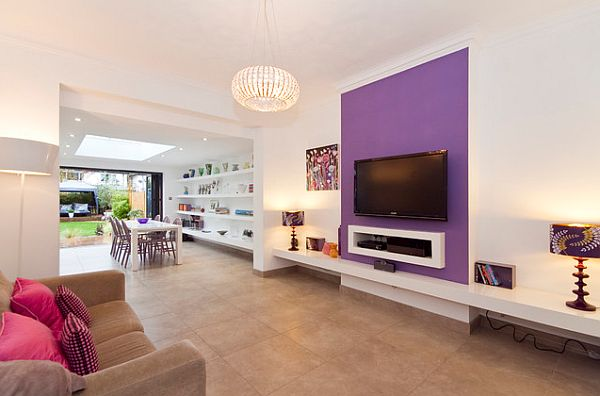Purple Accent Wall On White Paint Decoist
