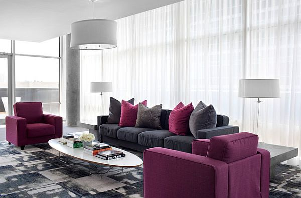 View In Gallery Modern Living Area Design With Purple Chairs And Grey Sofa  ...
