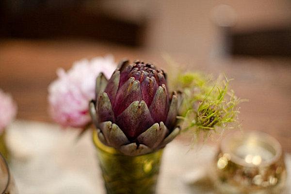 purple artichoke centerpiece