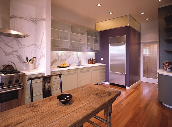 How to decorate with purple in dynamic ways for Purple kitchen design