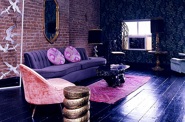 Dazzling jewel toned decor for Purple living room wallpaper
