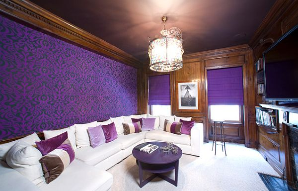 Purple media room with one framed wallpaper wall decoist for Purple living room wallpaper