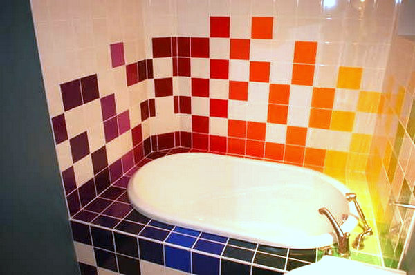 rainbow bathroom tiles