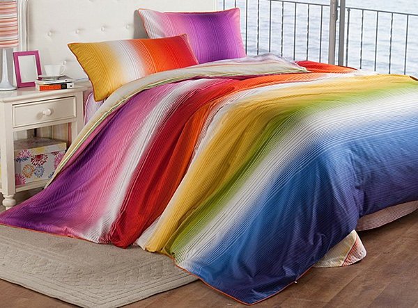 rainbow striped modern bedding