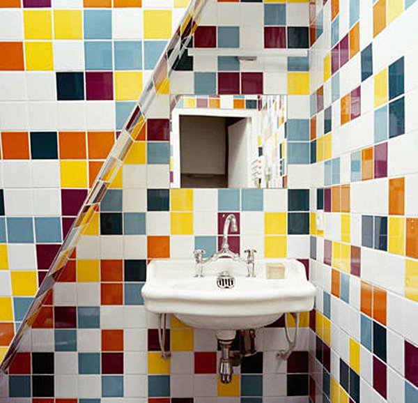 rainbow tile bathroom