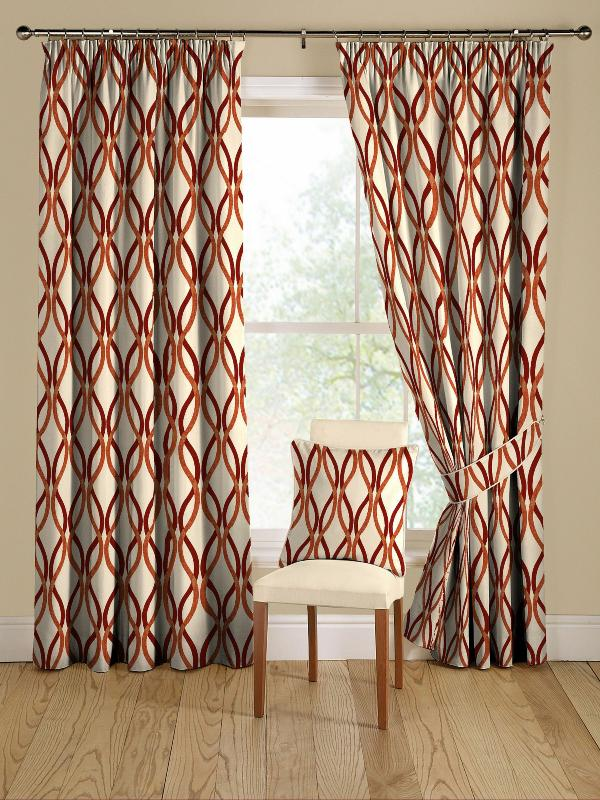 red and orange modern geometric curtains