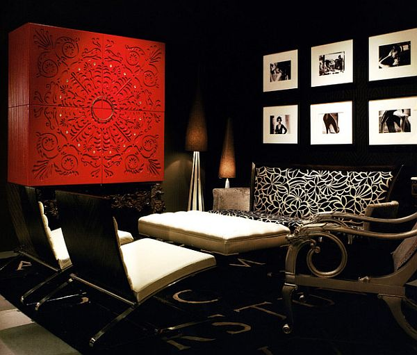 red cabinets in fancy asian inspired living room Red Branding: Four Powerful Ways to Infuse Your Home With Red