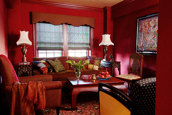 Dazzling jewel toned decor for Interior design living room red