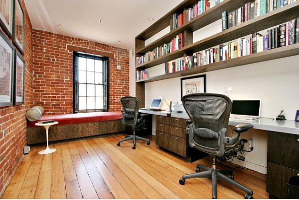 san francisco home office with exposed brick walls DIY Brick Wall Exposure