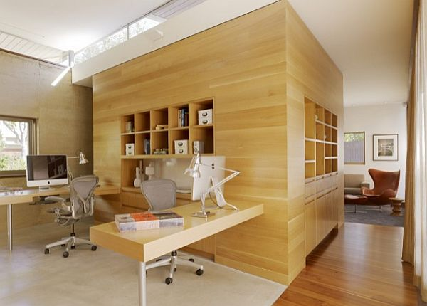 san francisco home office with wooden wall and box shelving
