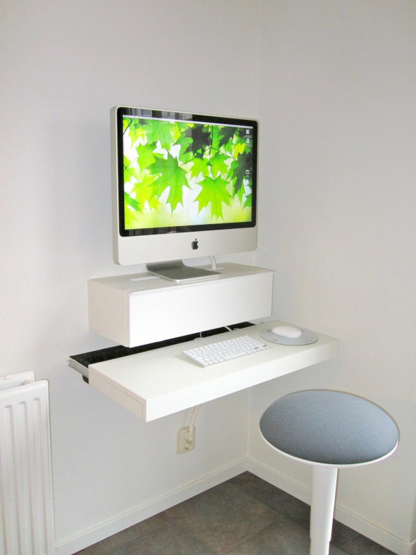 small DIY wall-mounted desk