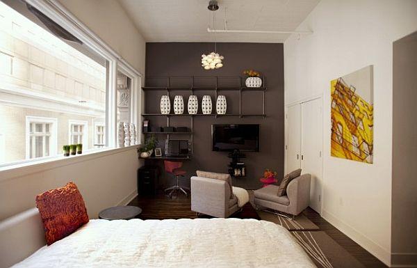small studio  furniture layout idea