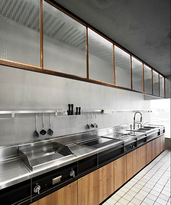 stainless stee kitchen with wooden cabinets fronts Minacciolo Italian kitchen 2015 inspiration