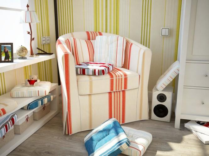 striped interior design – reading corner