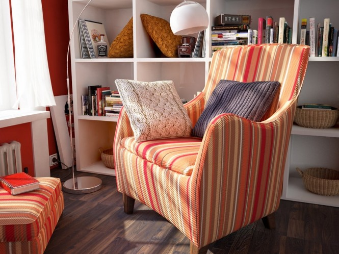 striped orange reading corner