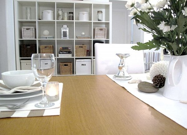 sydney traditional dining roomwith box shelving units