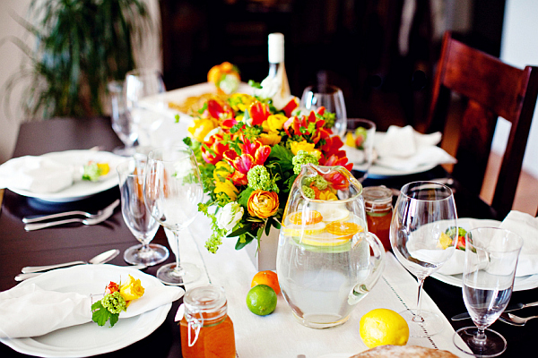 table decor ideas with colorful lowers lemons and lime DIY Food Ornamentation: Quick Easy Tips on Decorating For Dinner