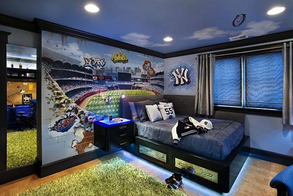 teen boy bedroom with blue neons