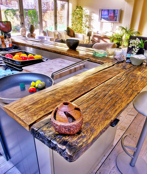 traditional kitchen with reclaimed wooden countertop DIY: Reclaiming Your Wood to New Definitions