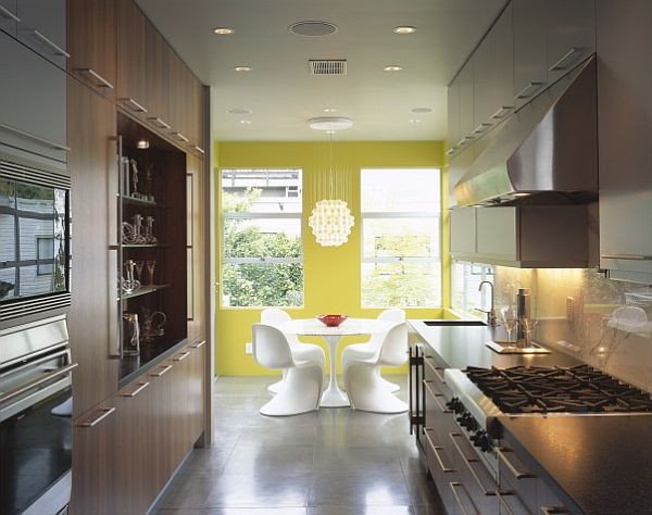 ultra modern kitchen with yellow wall contrast Buttercream Isn't Just for Baking: DIY Yellow Infused Kitchens