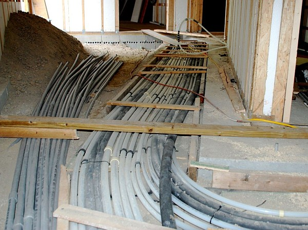 under the floor wires and cables