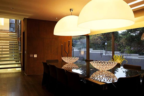 upholstered light fixture in large dining room decoist