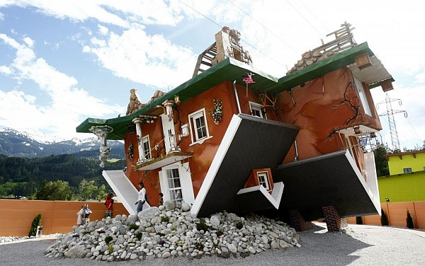 upside down house Terfens Austria 1 Astounding art work sees an entire home turned upside down in Austria!