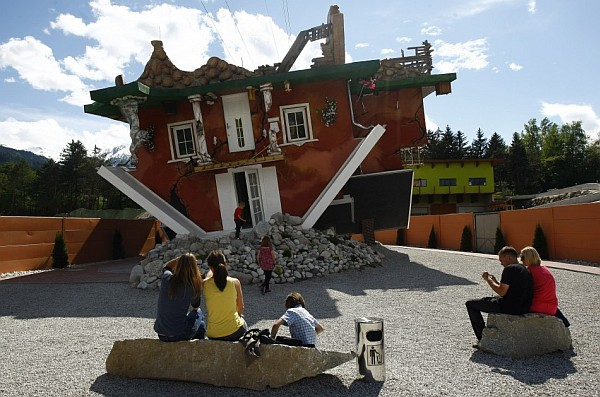 upside down house Terfens Austria 2 Astounding art work sees an entire home turned upside down in Austria!
