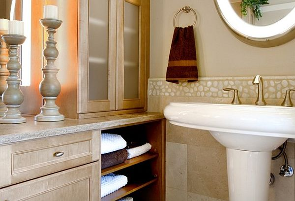 pedestal sinks are great for areas like powder rooms where storage and