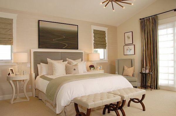 white Manhattan modern bedroom with grey headboard