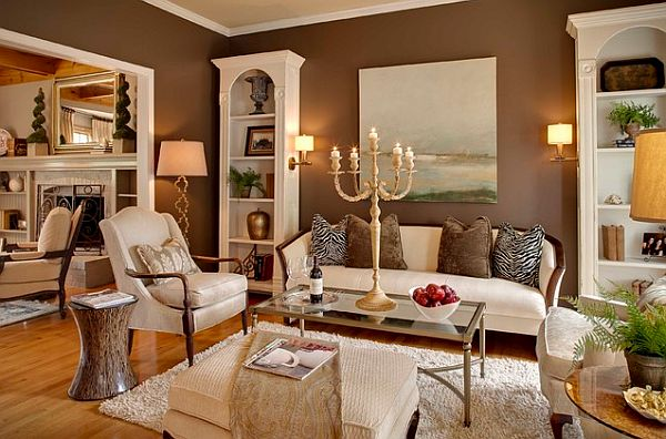 White And Brown Traditional Living Room Muddy Tracks Decorating With