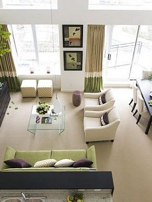 white and green living room design