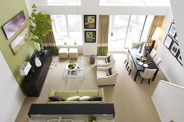 white and green living room design Garden Inspired Living Room Ideas