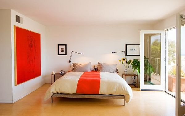 white and orange contemporary bedroom design How to Create a More Serene Bedroom