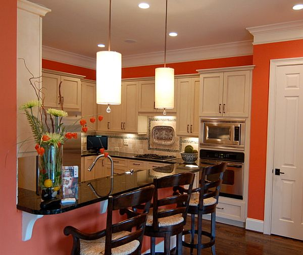 Orange Kitchen Room With White Cabinets Stock Image: How To Install Crown Molding: Step By Step Guide