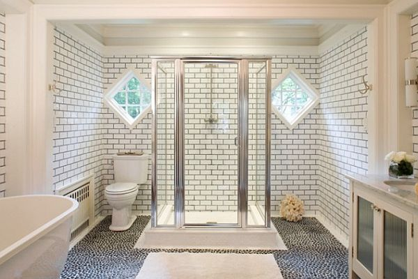 white bathroom with grey tile grout How to Clean Tile Grout